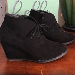 Faux suede black side zip ankle boot